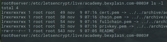 Lista de archivos let's encrypt